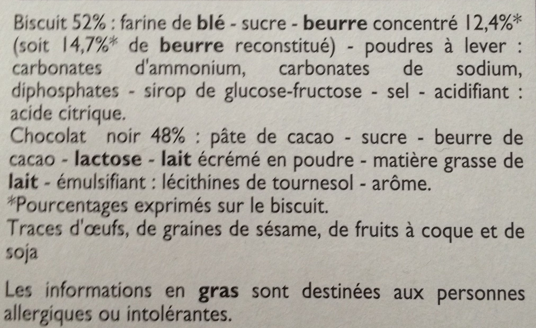 P'tit Sacripant Petits Beurre Chocolat Noir - Ingrediënten