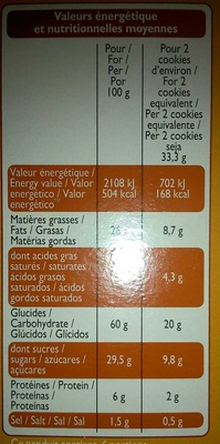 Cookies Nougatine - Informations nutritionnelles - fr