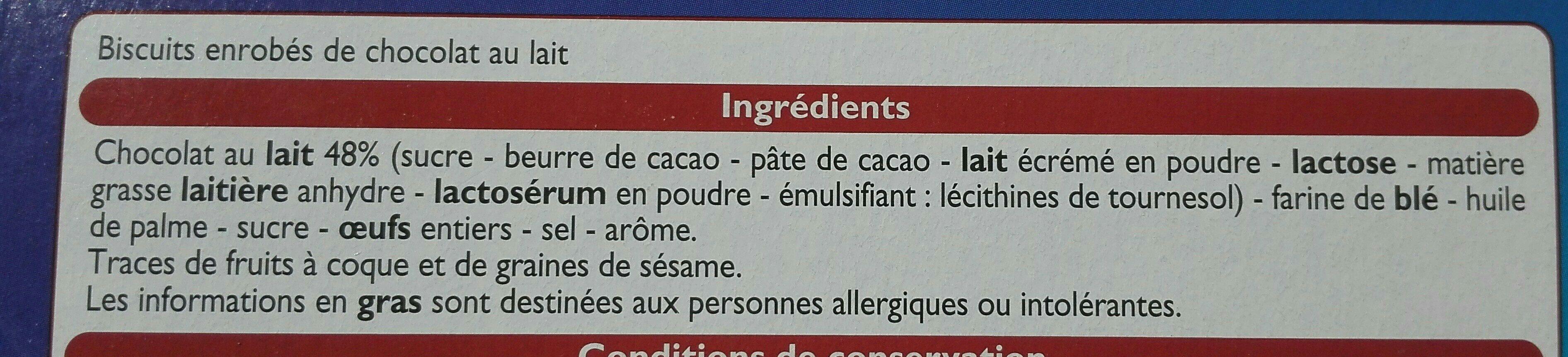Choco sticks - Biscuits enrobés de chocolat au lait - Ingrédients - fr