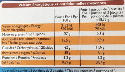 Choco sticks - Biscuits enrobés de chocolat au lait - Informations nutritionnelles - fr
