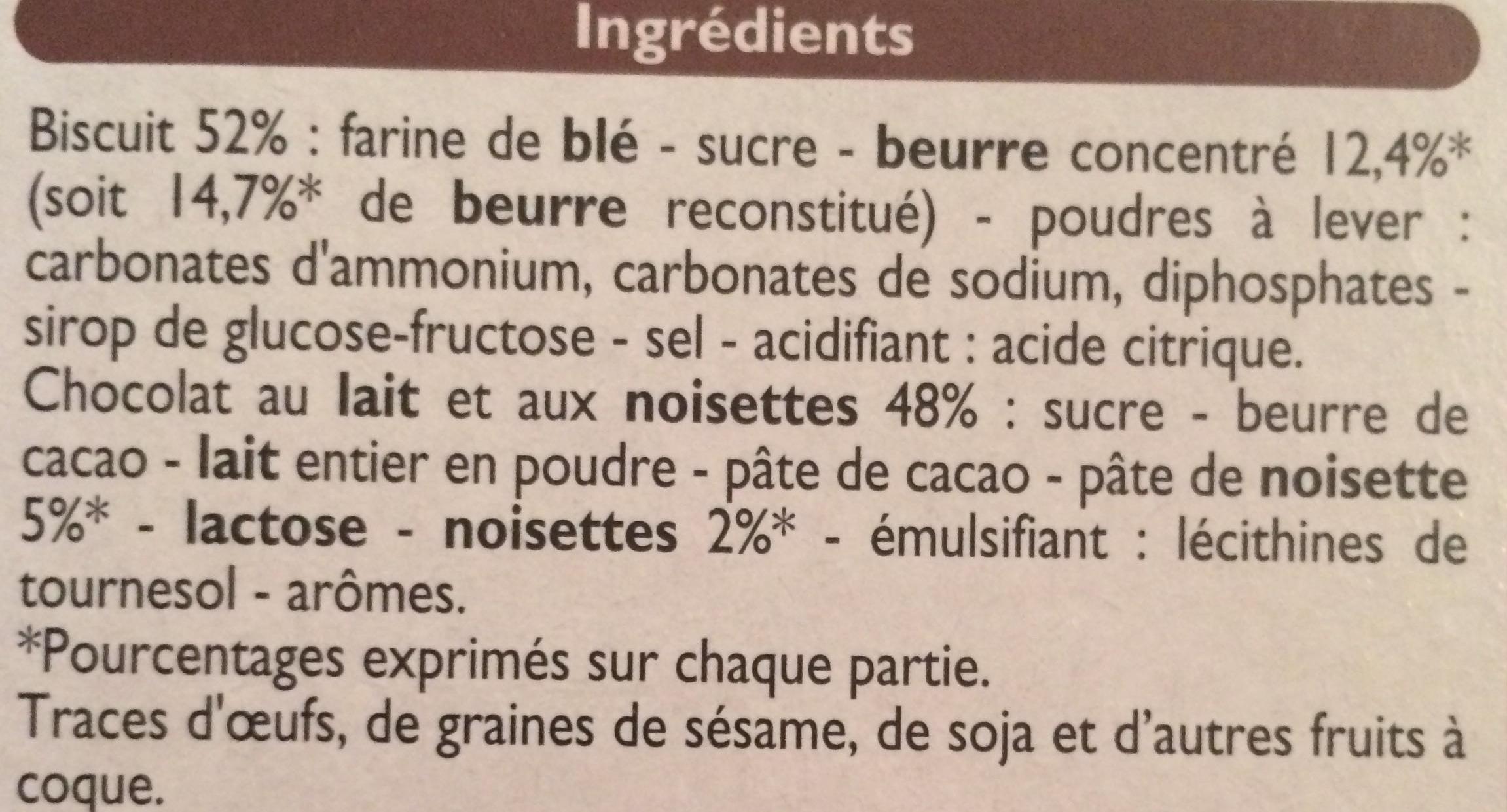 P'tit Sacripant, Petits Beurre Chocolat au Lait aux Noisettes - Ingredients - fr