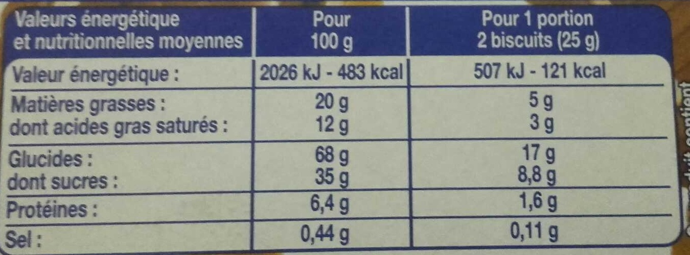 12 Biscuits Chocolat au Lait - Nutrition facts