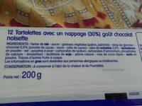 12 Tartelettes Goût Chocolat Noisettes - Ingredients - fr