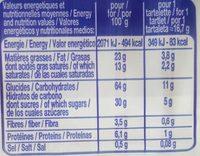 12 Tartelettes Goût Chocolat Noisettes - Nutrition facts - fr