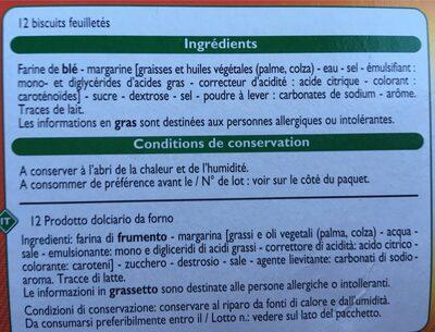 Palmiers feuilletés croustillants - Zutaten - fr