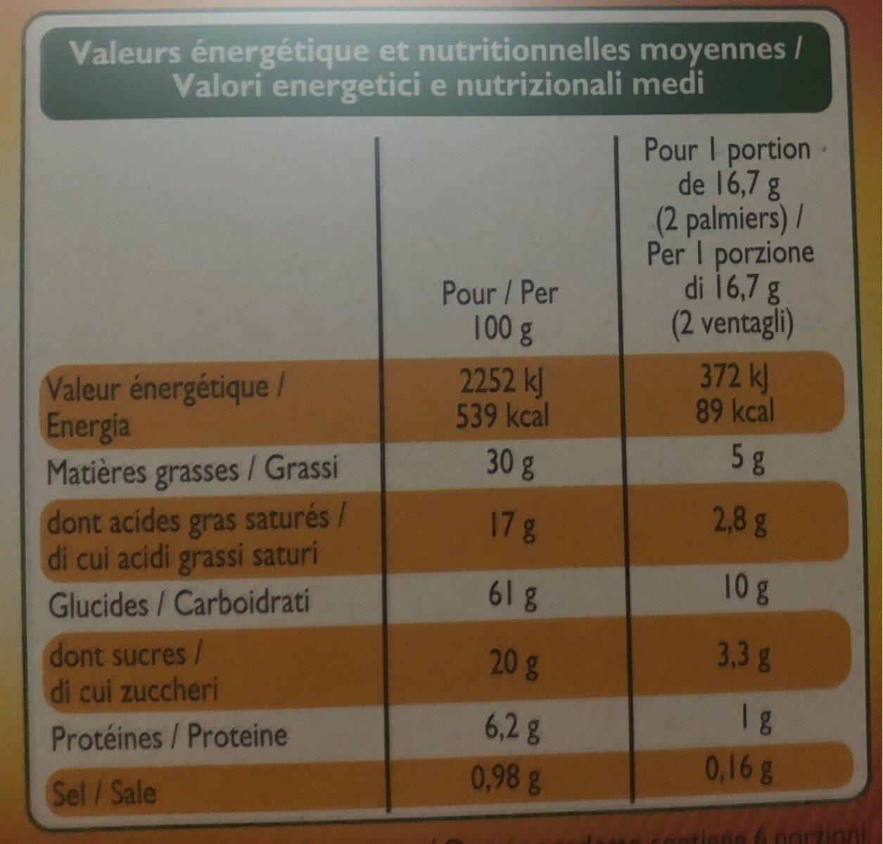 Palmiers feuilletés croustillants - Nährwertangaben - fr
