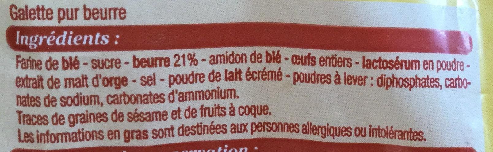 Galette à la Normande Pur Beurre - Ingrédients