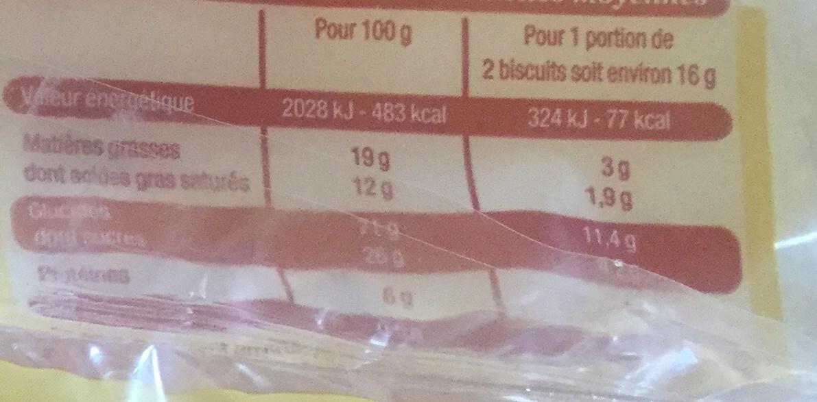 Galette à la Normande Pur Beurre - Informations nutritionnelles