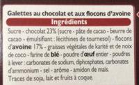 Galettes suédoises au chocolat et flocons d'avoine - Ingredienti - fr