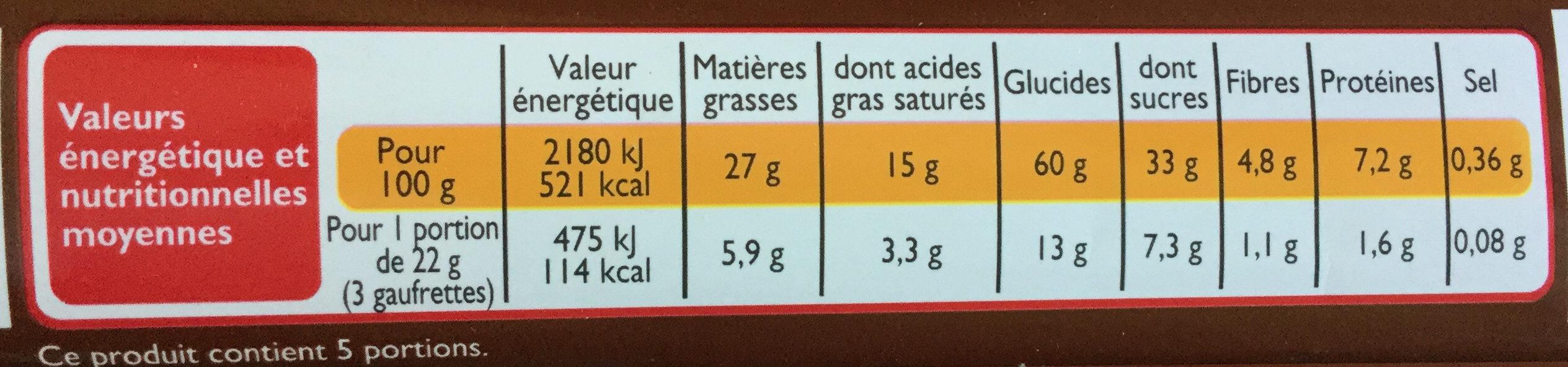 Gaufrettes chocolat - Informations nutritionnelles