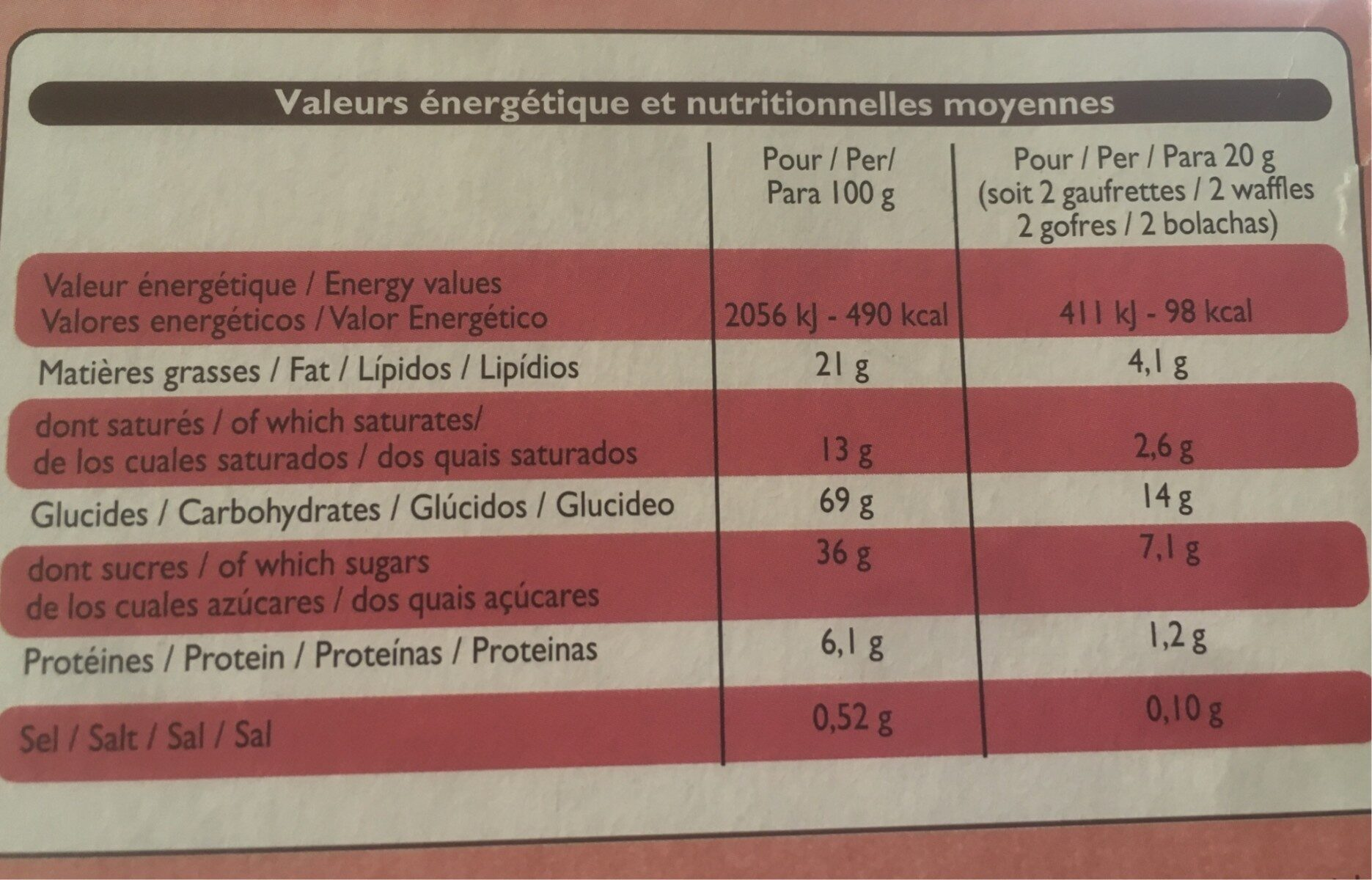 Gaufrettes fines pur beurre - Ingrediënten