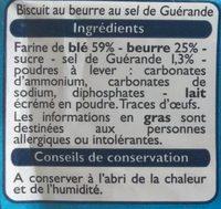 Petit beurre sablé au sel de Guérande - Ingrédients