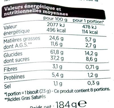 Cookies pépites de chocolat - Voedingswaarden - fr