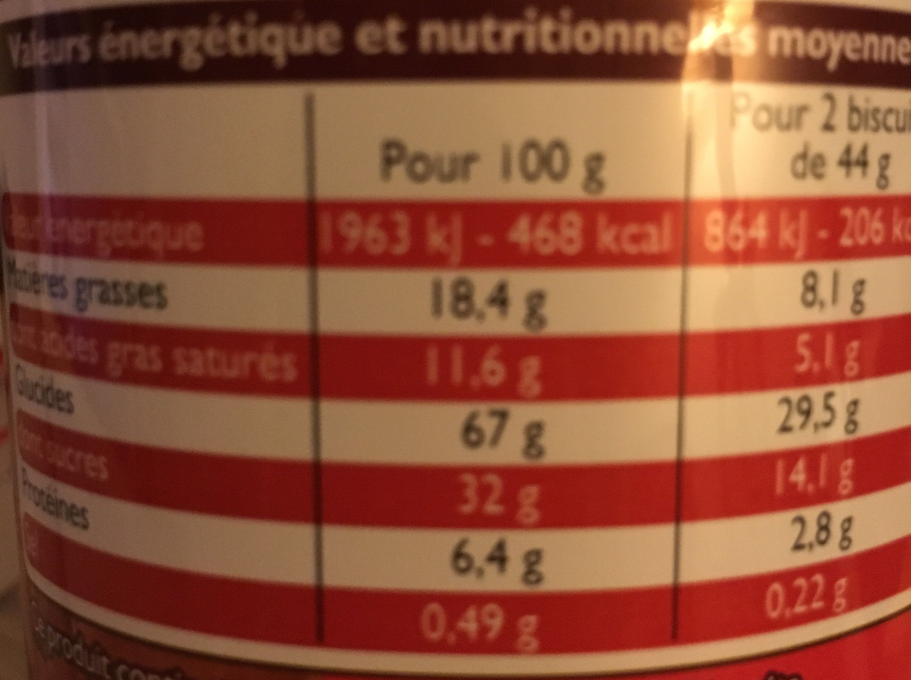 Royal biscuit goût tout chocolat - Informations nutritionnelles - fr