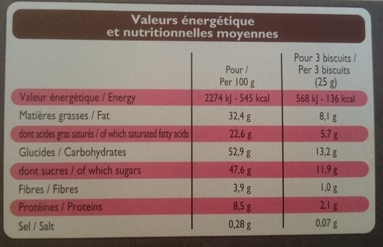 Biscuits meringués au chocolat - Informations nutritionnelles - fr