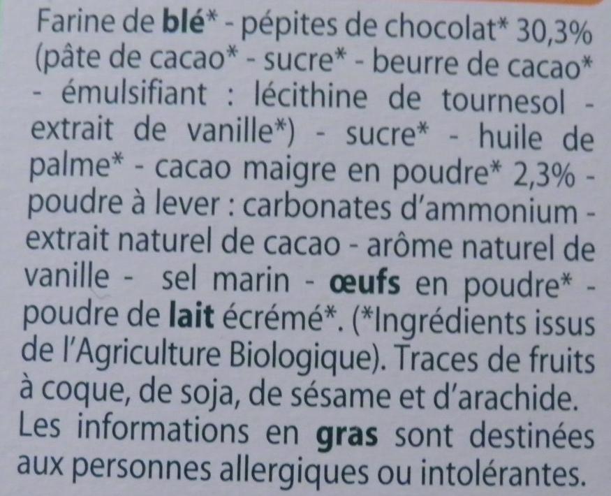 Cookies chocolat - Ingredients