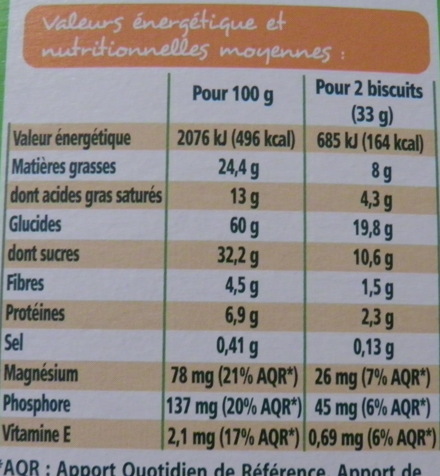 Cookies chocolat - Nutrition facts