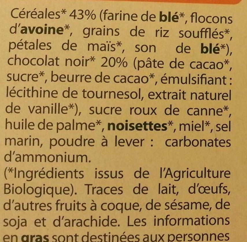 Sablés céréales chocolat noir Bio - Ingrédients - fr