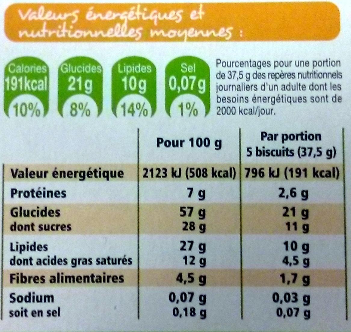 Sablés céréales chocolat noir Bio - Informations nutritionnelles - fr