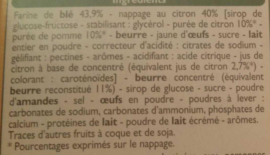 Tartelettes au Citron Pur Beurre - Ingrédients
