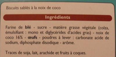 Biscuits sablés à la noix de coco Leader Price - Ingrédients - fr