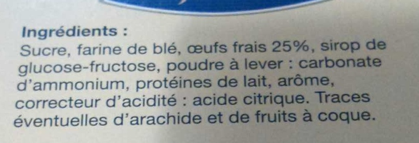 Boudoirs Aux Œufs Frais - Ingredienti - fr