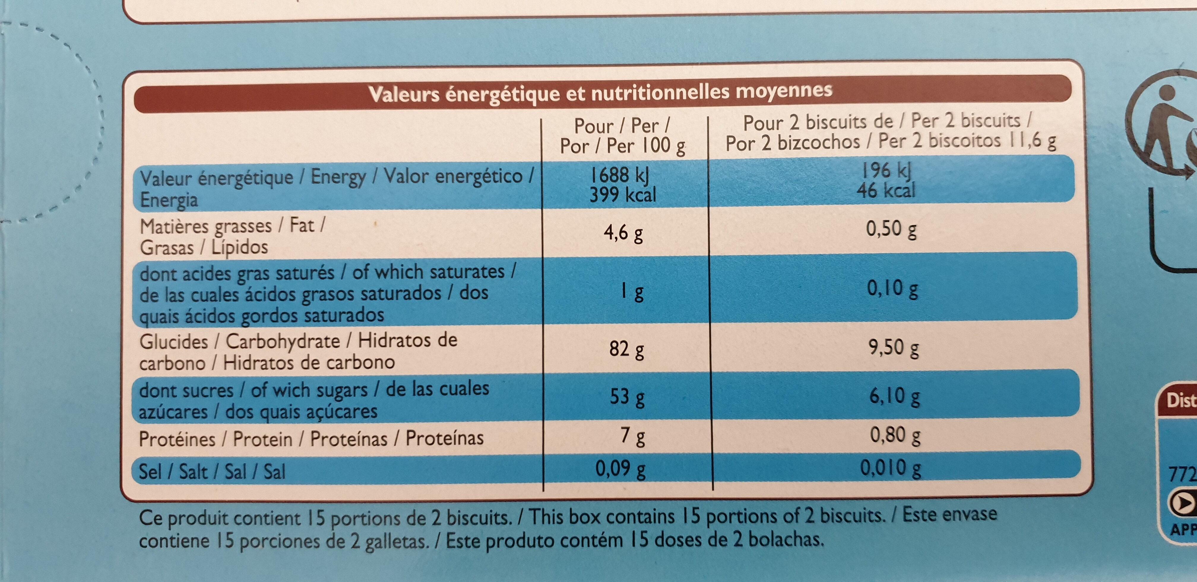 Boudoirs Aux Œufs Frais - Valori nutrizionali - fr