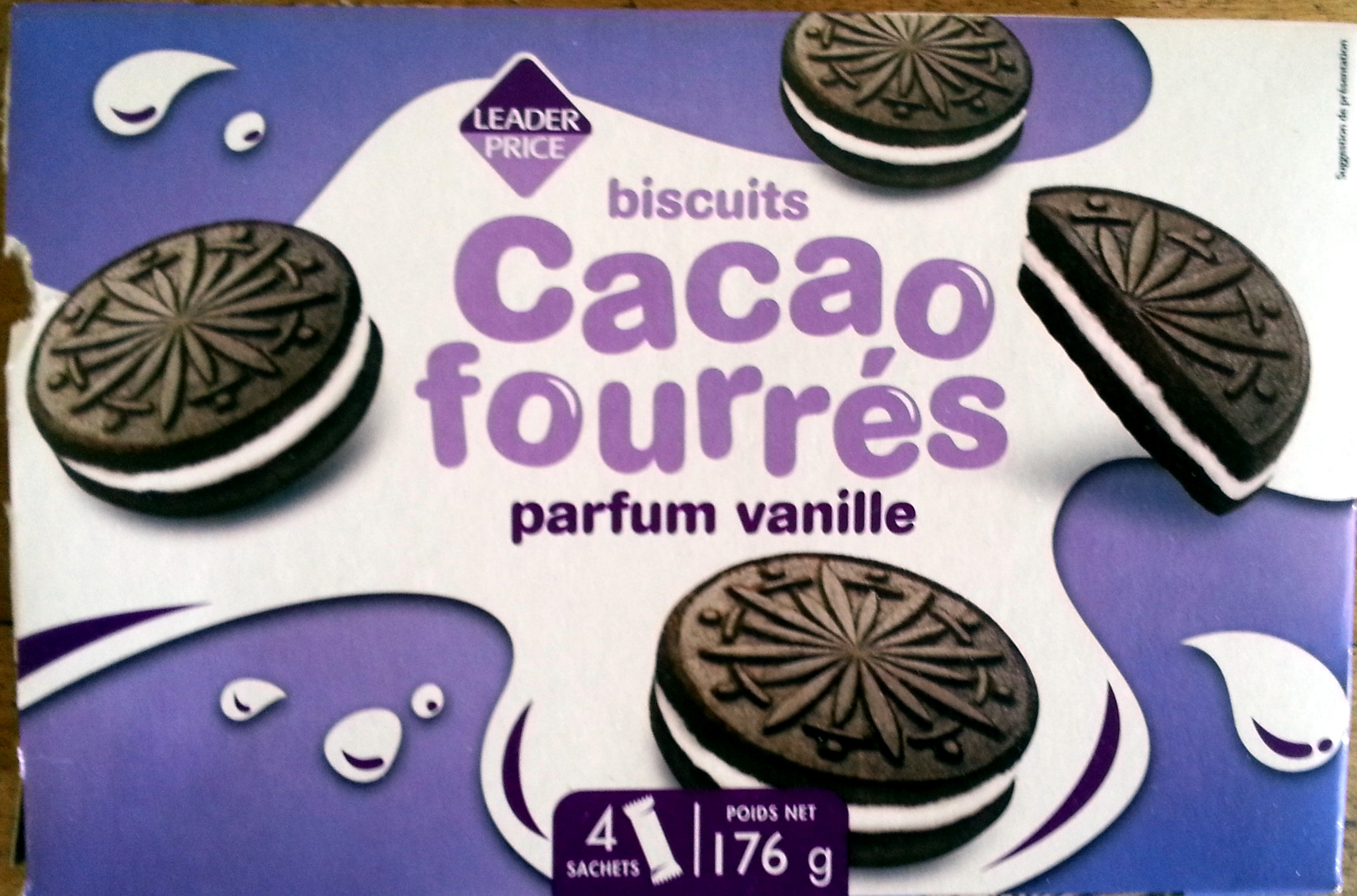Biscuits Cacao fourrés parfum vanille - Product - fr