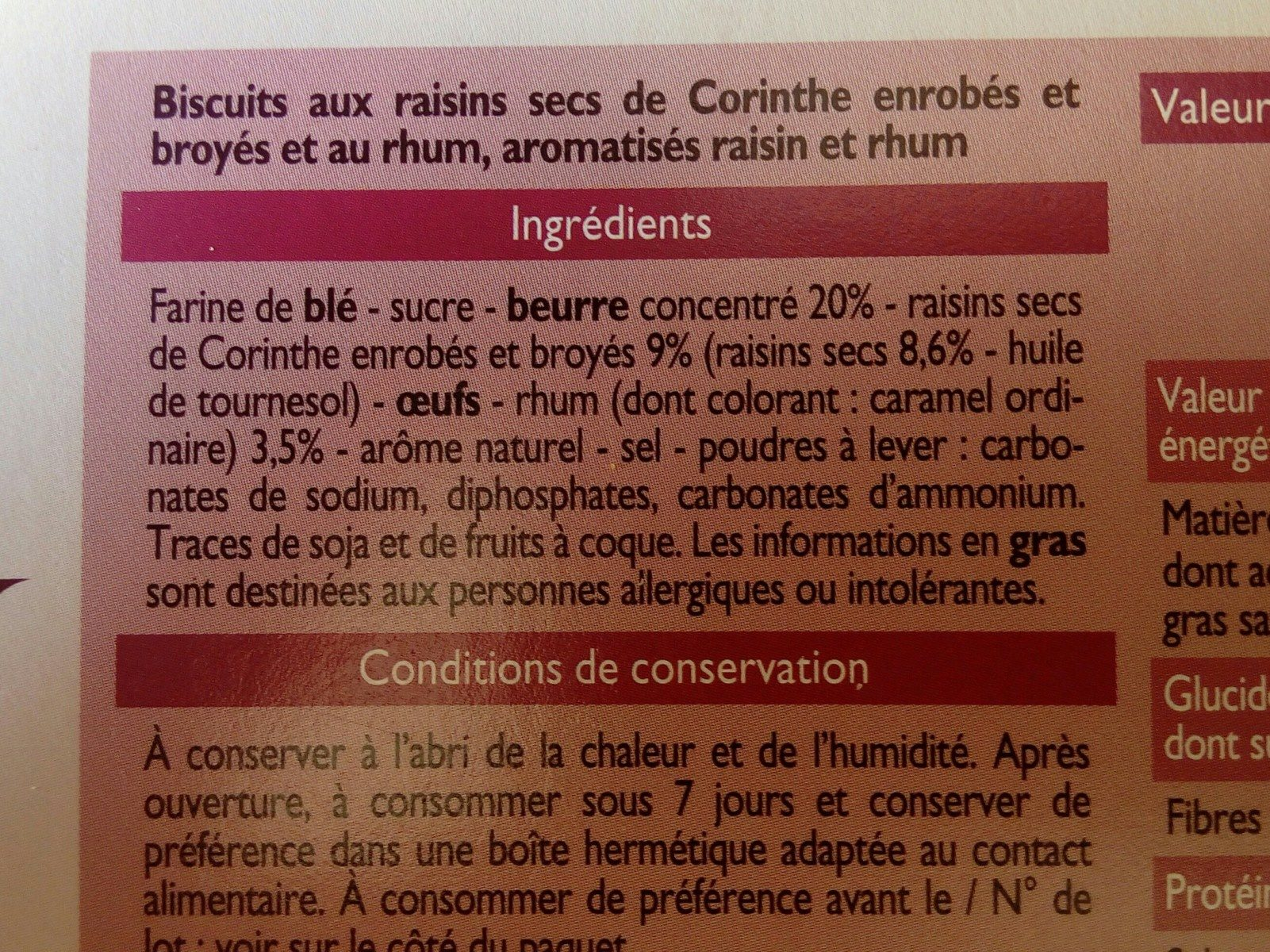 Sablés saveur Rhum-Raisins - Ingredients
