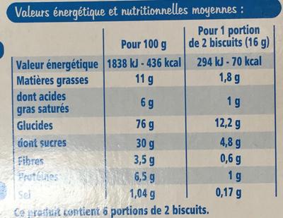 Biscuits Croquants goût Chocolat - Voedingswaarden - fr