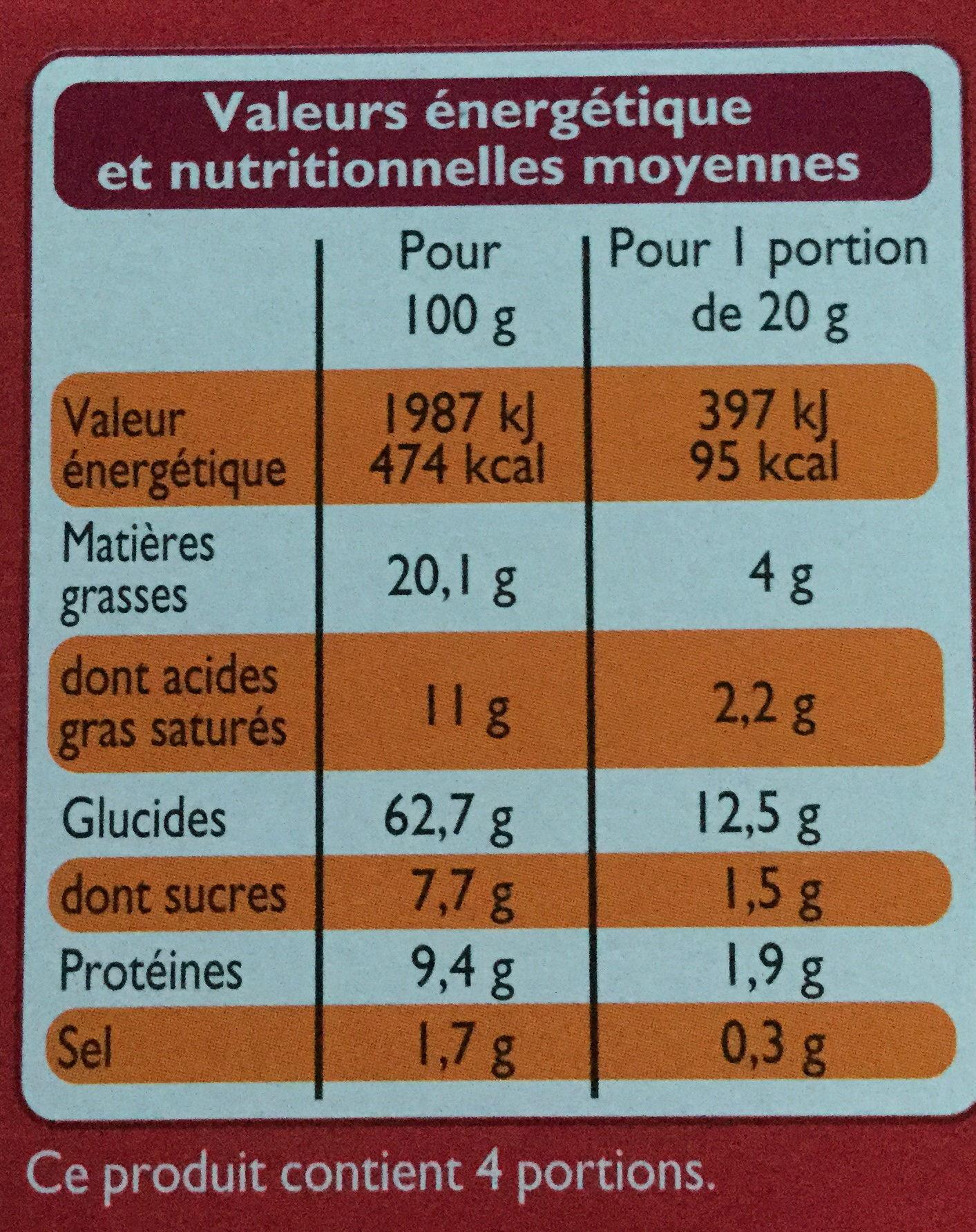 Étincelles - Biscuits saveur sweet chili - Valori nutrizionali - fr