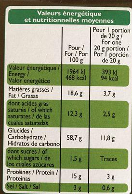 Les Craquines olive/parmesan - Informations nutritionnelles