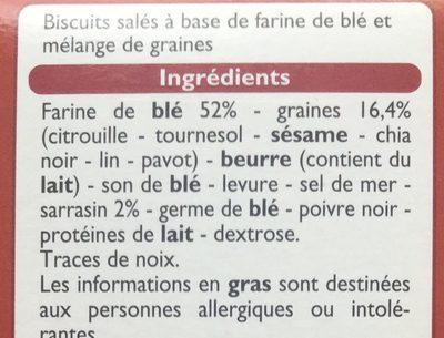 Les Craquines aux graines - Ingrédients