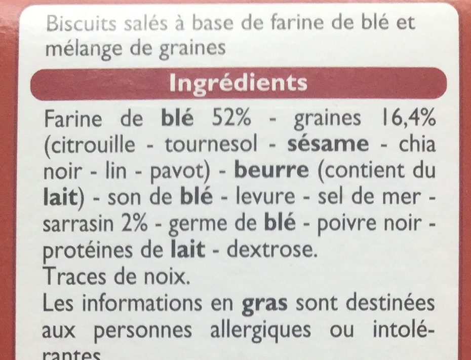 Les Craquines aux graines - Ingrédients - fr