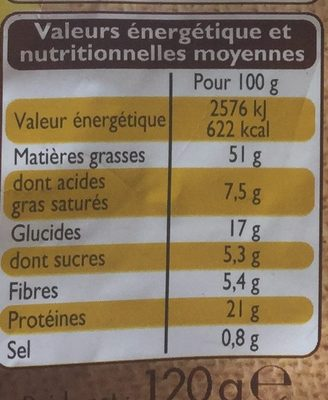 Mélange salé - Nutrition facts - fr