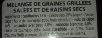 Mélange de graines grillées salées et de raisins secs - Ingrediënten