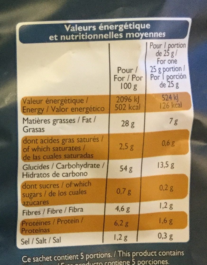 Chips extra croquantes - Nutrition facts