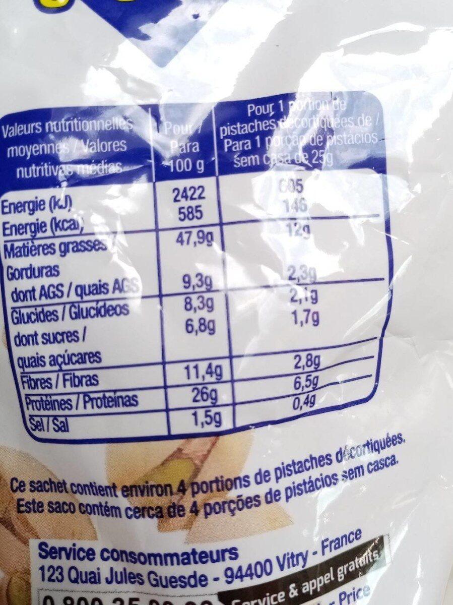 Pistaches grillées - Voedingswaarden - fr