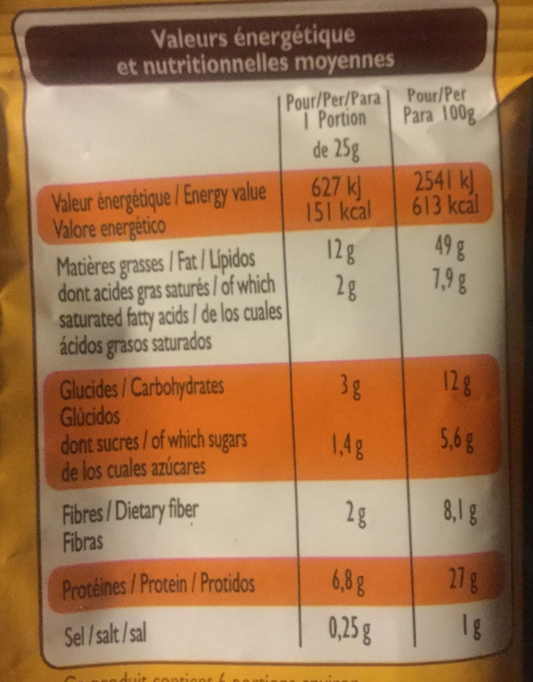 Cacahuètes grillées à sec - Voedingswaarden