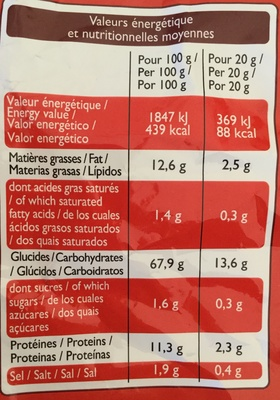 Curves cacahuètes - Nutrition facts