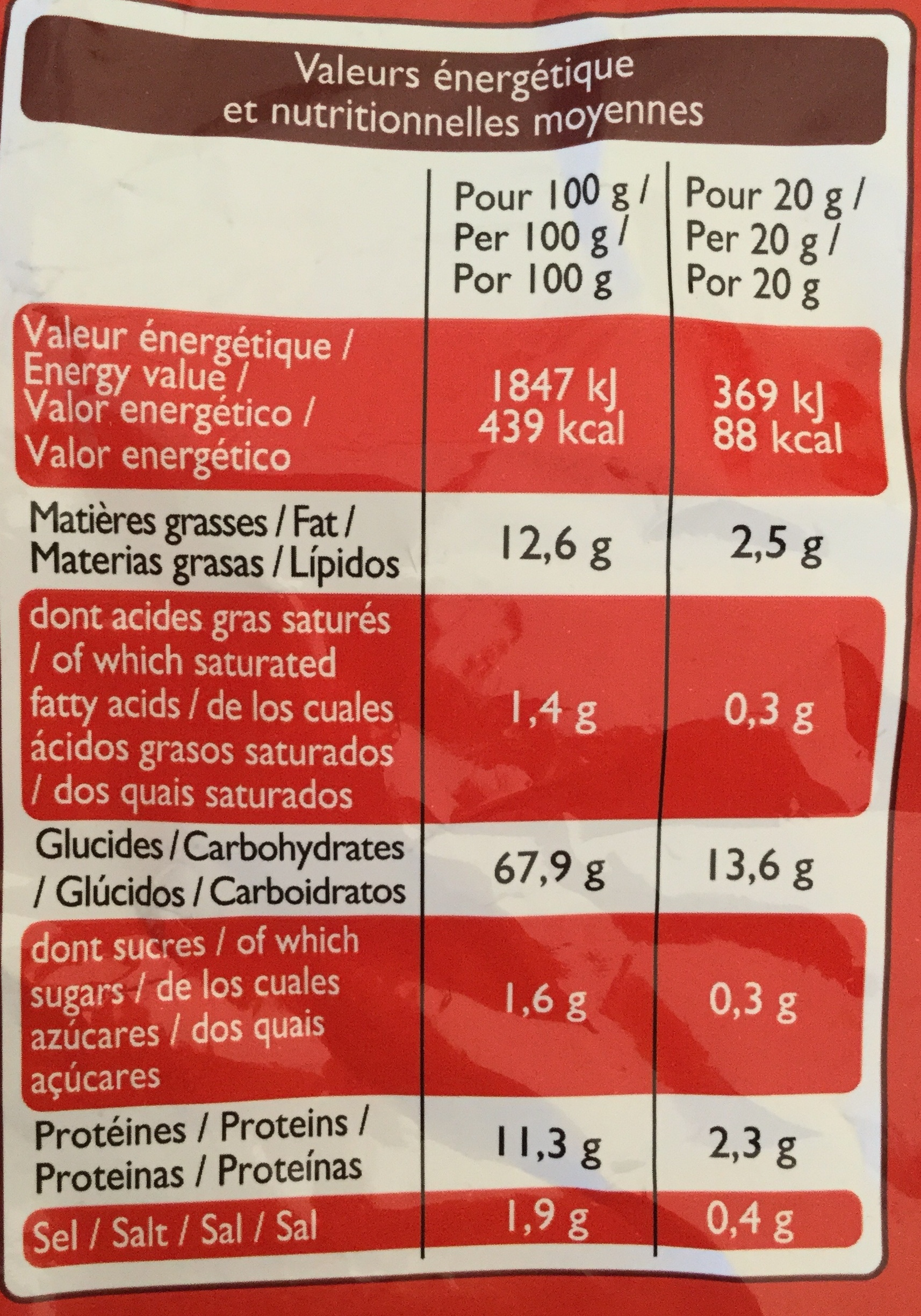 Curves cacahuètes - Nutrition facts - fr