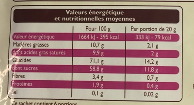Mélange exotique - Informations nutritionnelles - fr