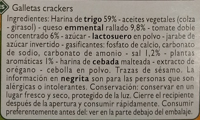 Crackers Pizza - Ingredientes