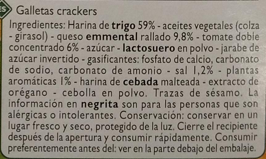Crackers Pizza - Ingredientes - es