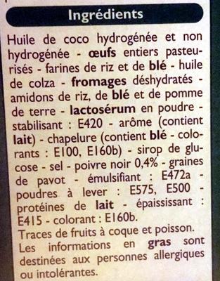 Mini choux saveur chèvre poivre - Ingrédients