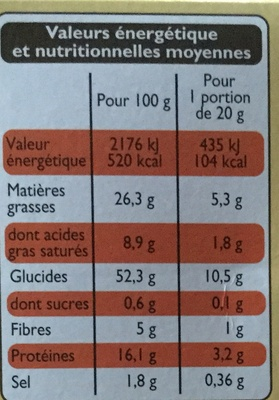 Crackers fromages & graines - Informations nutritionnelles