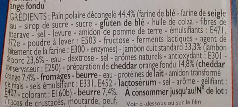 Jambon Cheddar fondu - Ingredients