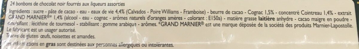 Liqueurs assorties - Ingredients - fr
