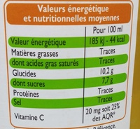 Pur jus d'orange Cuba Brésil - Voedingswaarden - fr
