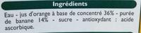 Nectar d'Orange Banane - Ingrediënten - fr